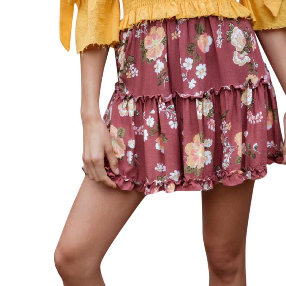 ac507c52c6ef 2019 neue Mode Frauen Damen Rote Röcke Blumendruck Boho Weibliche Sexy Hohe  Taille Rüschen Mini Kurze Röcke Elastische Taille