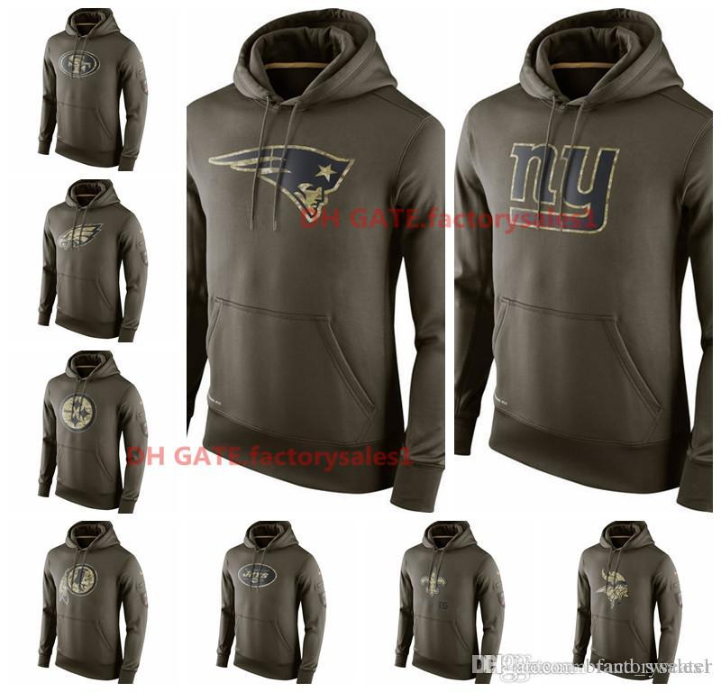 online retailer 7b365 d2e81 Mens Vikings Patriots Saint Giants Jets Raiders Olive Salute To Service KO  Performance Hoodies