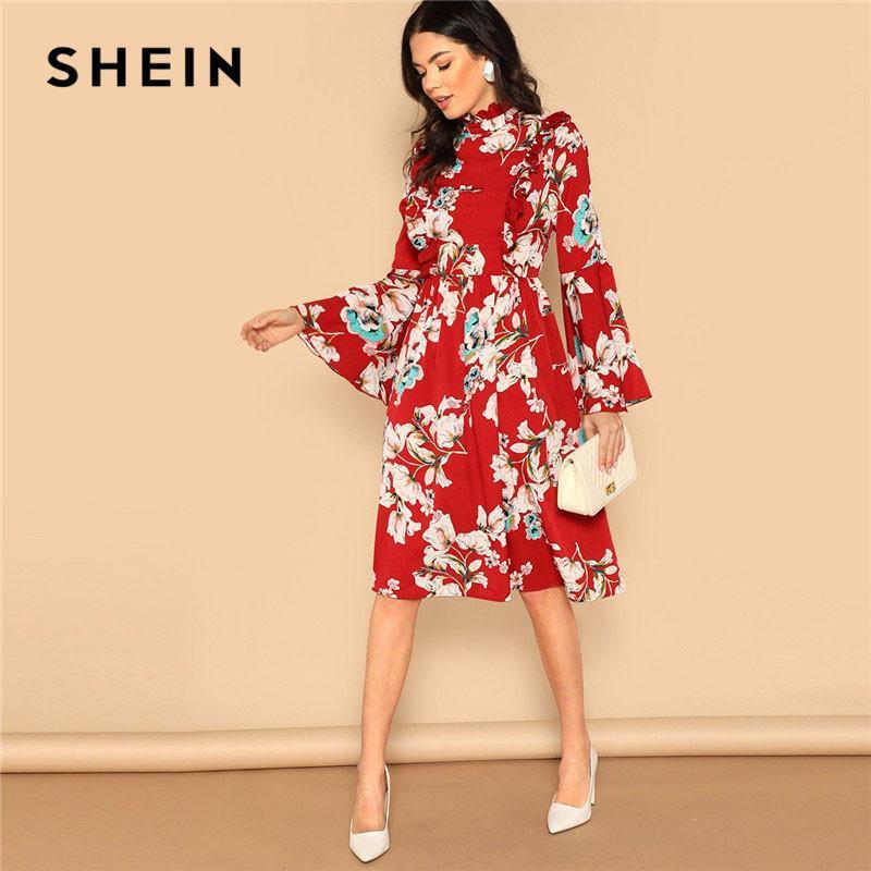 d04deb814cba2 2019 SHEIN Ruffle Detail Bell Sleeve Red Dress Flower Print High Waist Knee  Length Vacation Dress 2019 Spring Women Elegant Dress Q190423 From  Yizhan05, ...