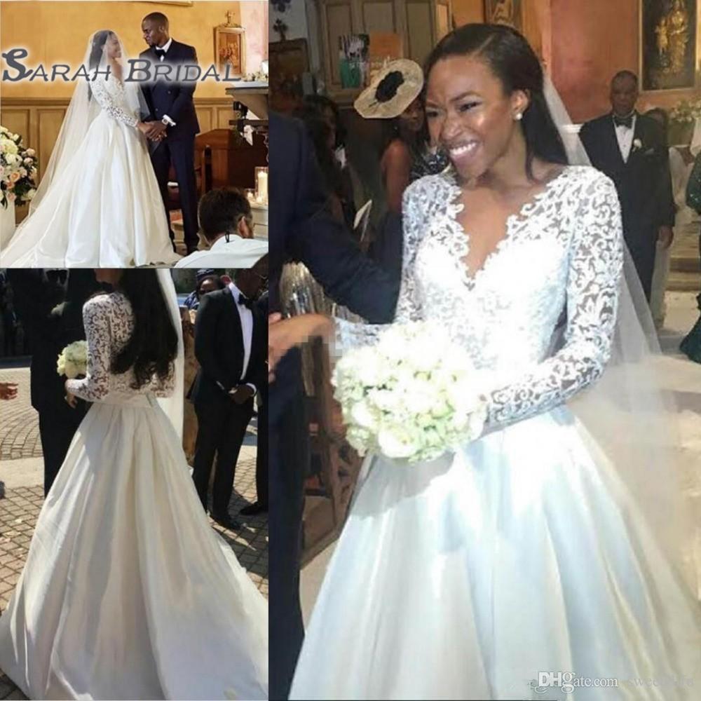 f89bec5fbb98 Classic Lace Long Sleeves A Line Wedding Dresses African Arabic ...