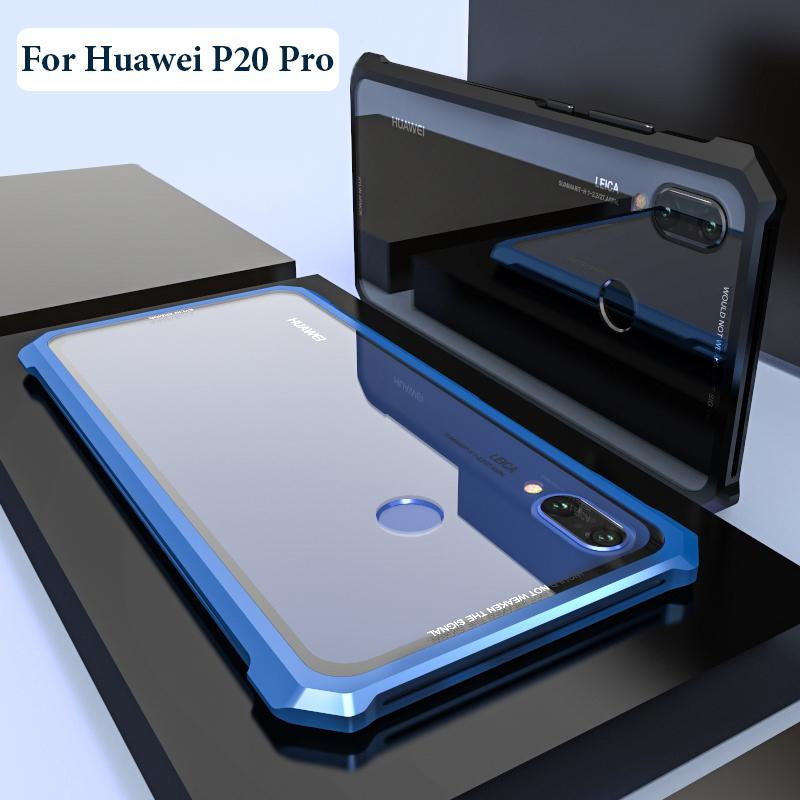 brand new e0742 a2f77 For Huawei P20 Pro Case Protective Aircraft Bumper Metal Screw Cell Phone  Case For P20 Lite with Transparent Back Tempered Glass