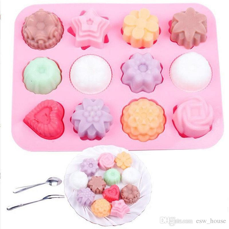 DIY Silicone Soap Mold 12 - hole Flower and Silica Gel Cake Mold Pudding  Jelly Molds Handmade Soap Chocolate Soap Mould