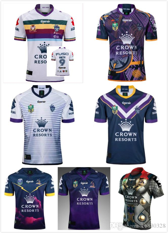 2018-2019 Newest Melbourne Storm Home Away Rugby Jerseys NRL ... d2621aec93