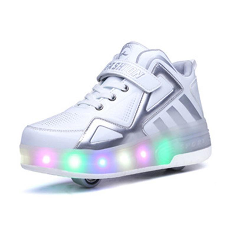 2019 Children Shoes Kids Glowing Sneakers With Two Wheels Kids Roller Skate Shoes Led Light Up Shoes For Boys Girls MX190727