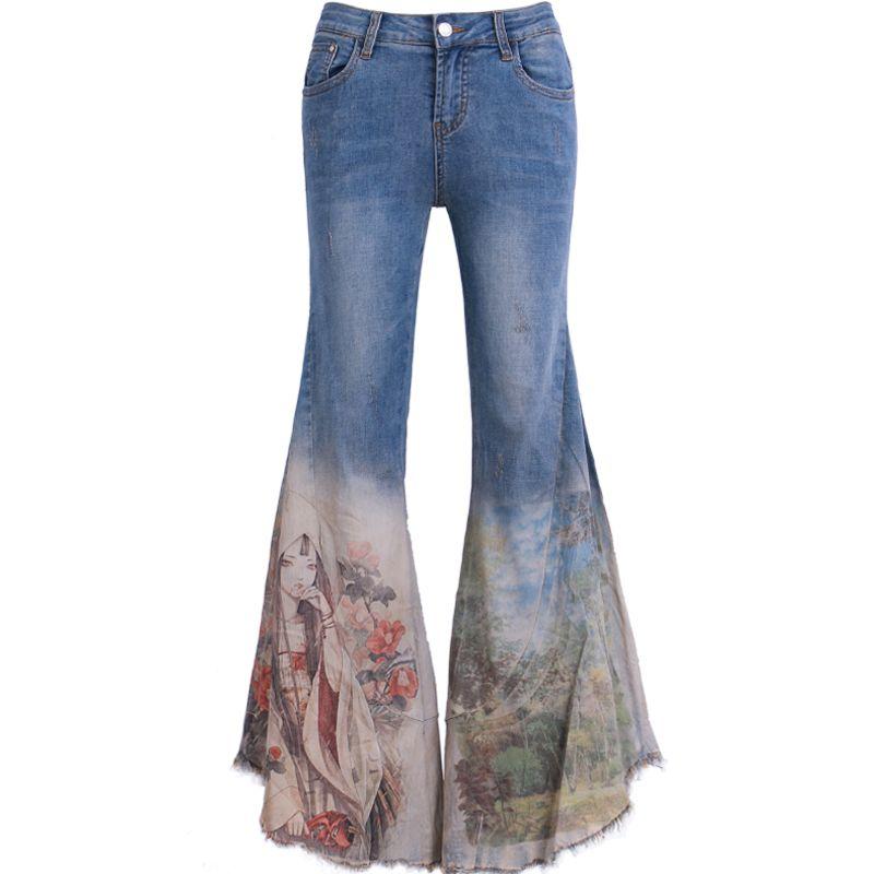 d9a1e62652 2019 Spring new fashion wide leg jeans Slim retro beauty printed wmen big  flare jeans women plus size