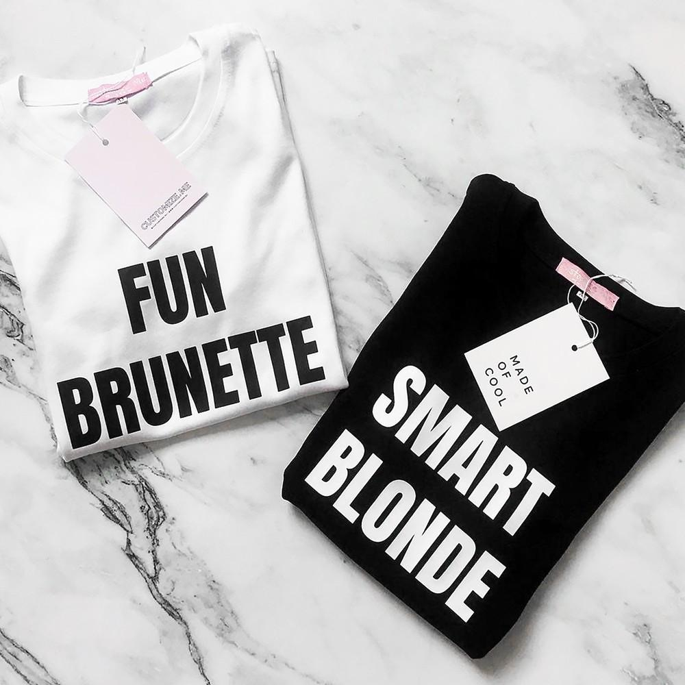 446cb6a8d Fun Brunette Smart Blonde Printed Bbf Best Friends T Shirt Women Short  Sleeve Loose Shirt Funny Graphic Tee Designer Summer Top Y190123 Funny  Political T ...