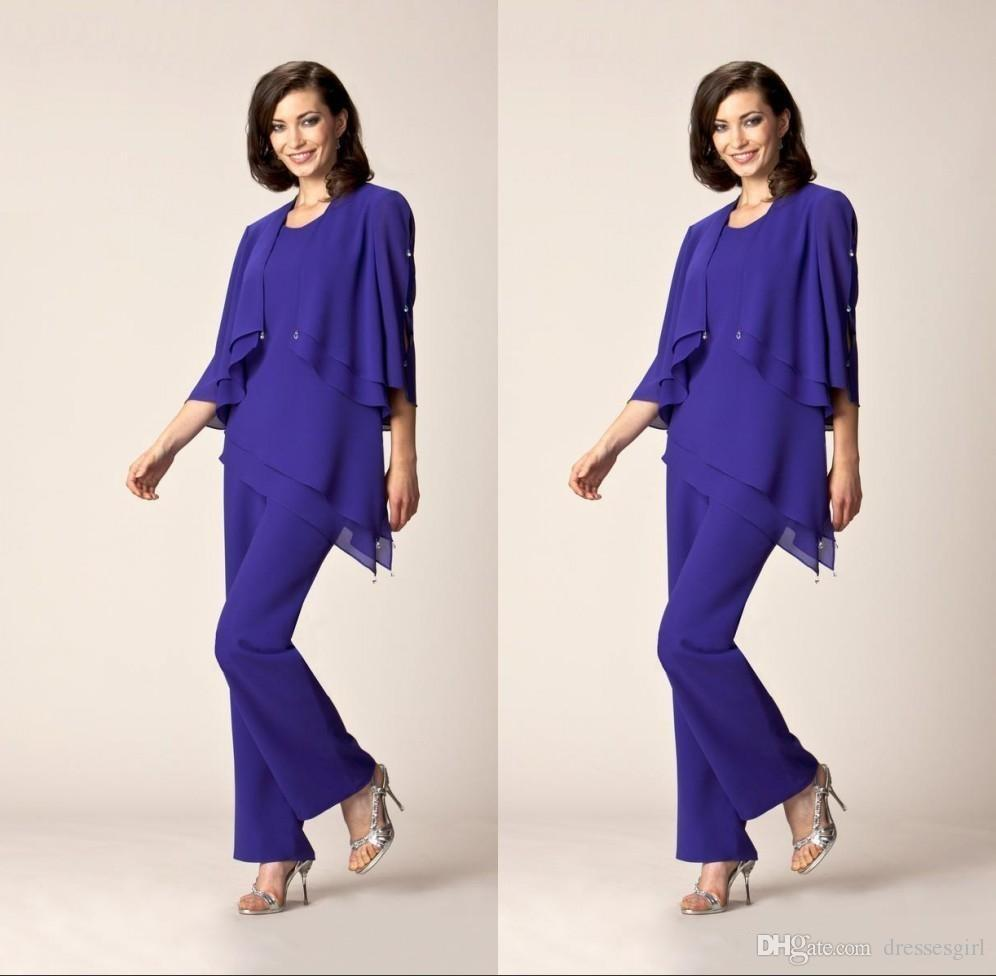fac2c35ce346 Elegant Blue Chiffon Mother Of The Bride Suits With 3 4 Sleeve Mother  Dresses Pants Suit Women Formal Gown J0an Rivers Joan Joan Rivers From  Dressesgirl