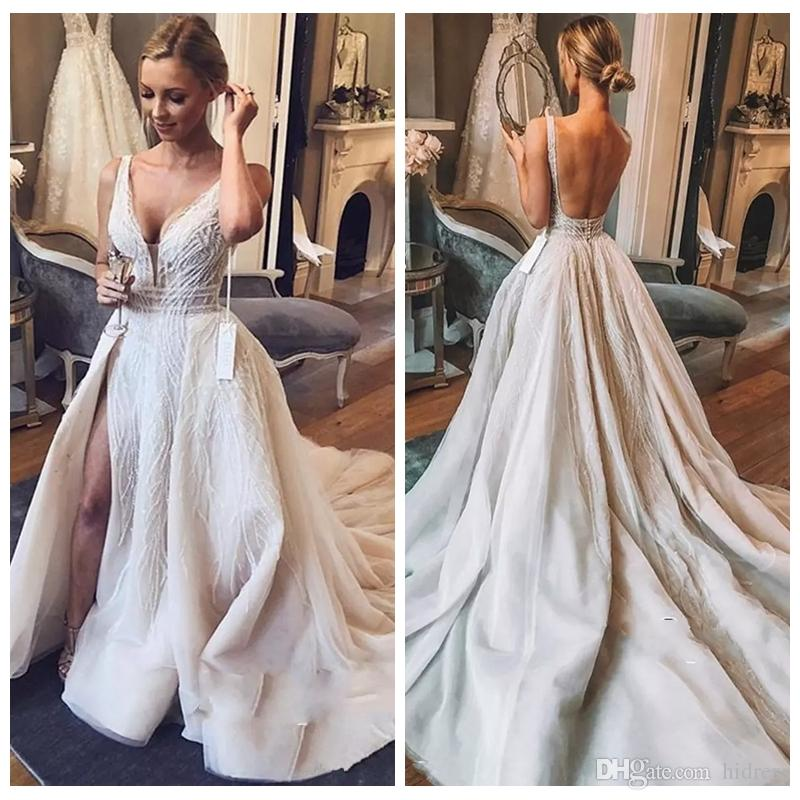 1725da87e97 Discount Chic V Neck Sleeveless 2019 Wedding Dresses Overskirts Tulle  Sequins Bridal Gowns With Slit Charming Luxurious Wedding Gowns Robe De  Mariee Bridal ...