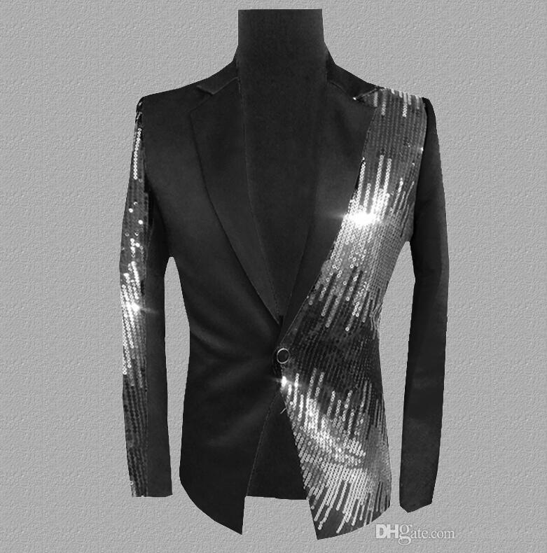 sequins blazer men suits designs jacket mens stage costumes for singers clothes dance star style dress punk rock masculino