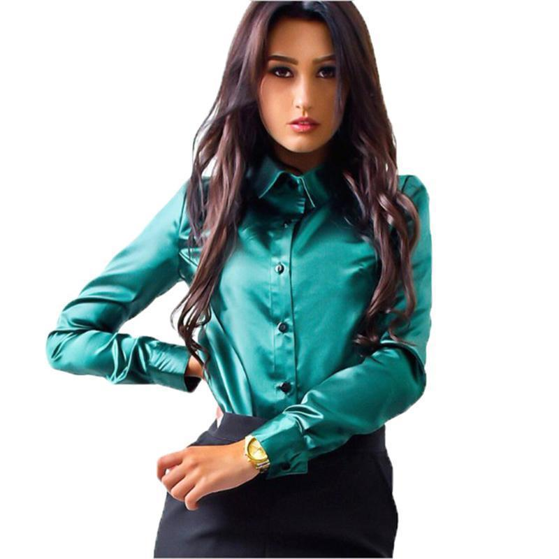 2019 Blusas Mujer De Moda 2019 Elegant Solid Button Womens Tops And Blouses  Long Sleeve Office Shirt Camisa Feminina From Jamie14 b5ad4aaf0