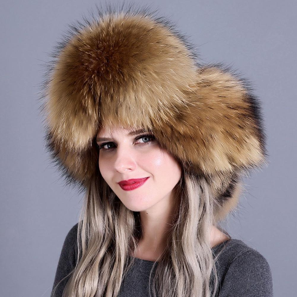 11f96389d Women Cap Real Fox Fur Thick Bomber Hat Natural Warm Trapper Earflap Skiing  Snow Adjustable Autumn Winter
