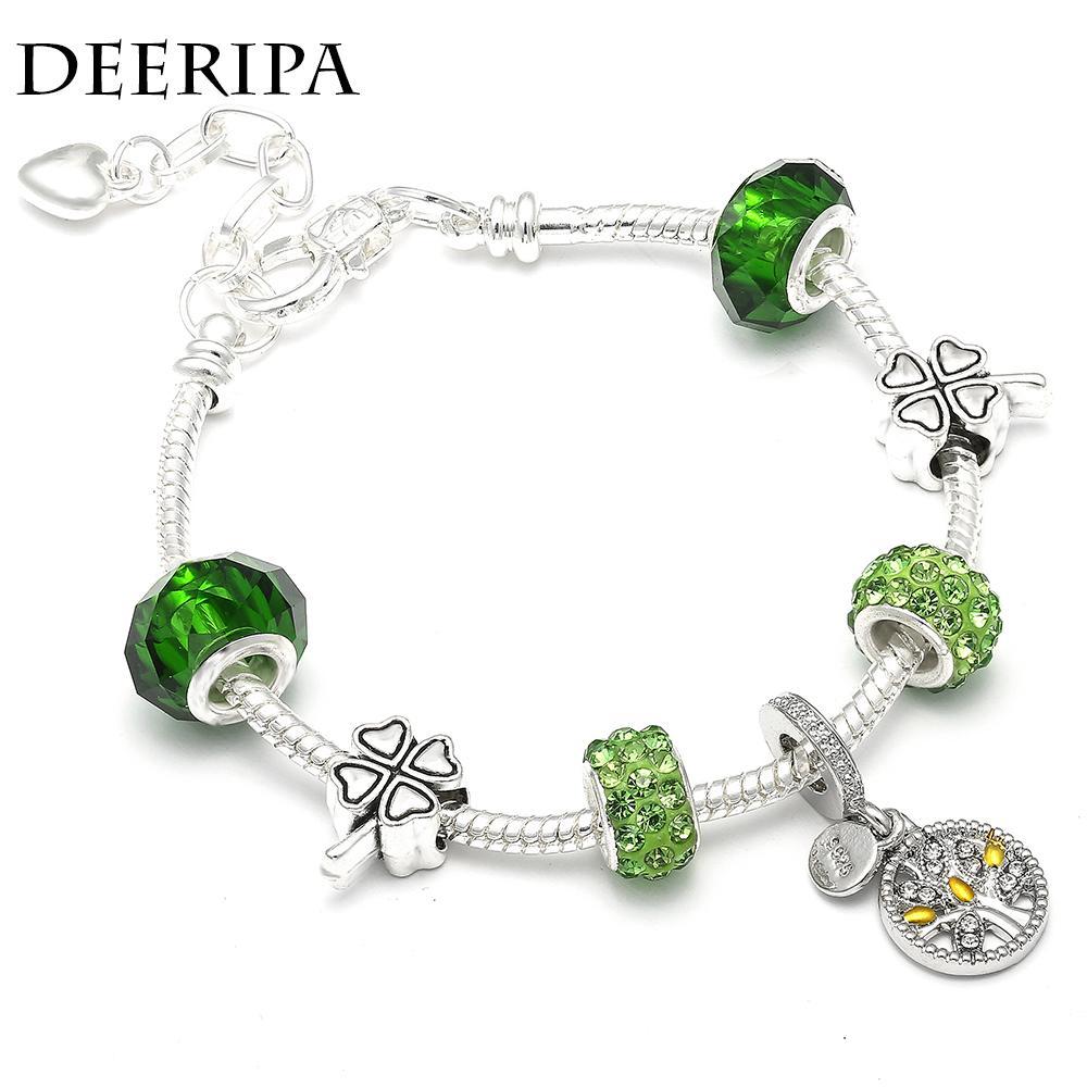 DEERIPA Tree Of Life Charm Bracelet Antique Silver Color Clover Bead Pandora Pulseras Brazaletes Para Las Mujeres Joyería de Moda Regalo