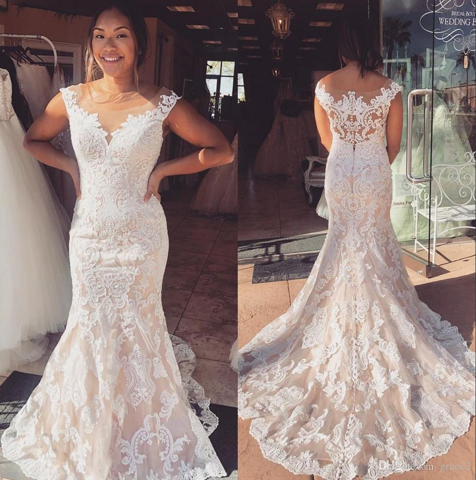 Real Brides Fit And Flare: Fit And Flare Wedding Dresses 2019 Sheath Vestido De Noiva