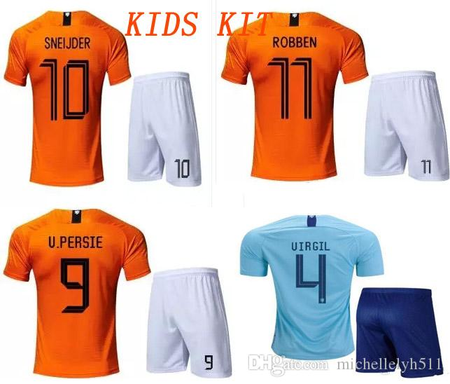 02d4de275 18 19 Kids Kit Holland Soccer Jersey Shorts MEMPHIS Virgil V.PERSIE ...