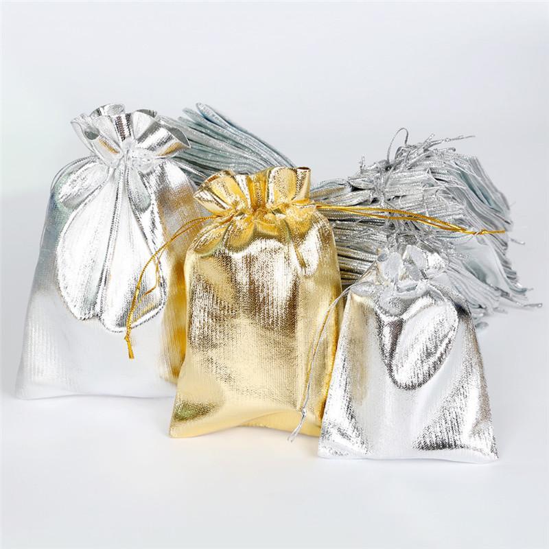 100 unids / lote embalaje de la joyería de plata hoja de oro tela de terciopelo con cordón bolsa 5 * 7 cm / 7 * 9 cm / 9 * 12 cm bolsas de regalo de boda bolsas