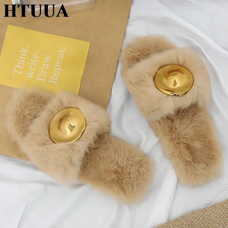 e7eb52ac2dd0 HTUUA Fashion Fluffy Fur Slippers Women Warm Plush Winter Slippers Flat  Furry Slides Indoor Floor Home Cozy Shoes S1766 Chukka Boots Fringe Boots  From ...
