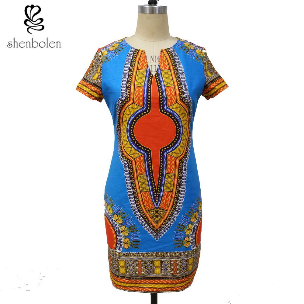 2019 Shenbolen African Dresses For Women Dashiki Dress Ankara Printing  Cotton Wax Fabric Traditional Clothing From Michalle 68674140cb3a