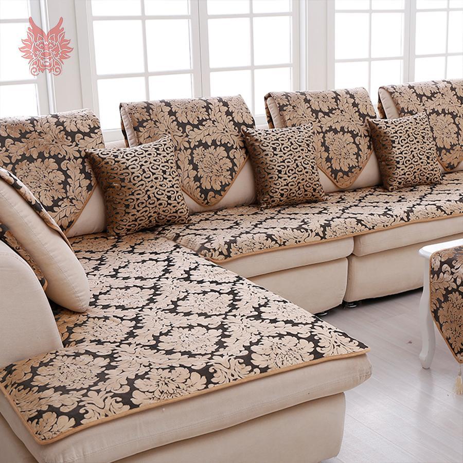 d7cb62e716b6e8 Europa preto ouro floral jacquard terry pano capa de sofá de pelúcia  slipcovers móveis capas de sofá sofá capa SP3767