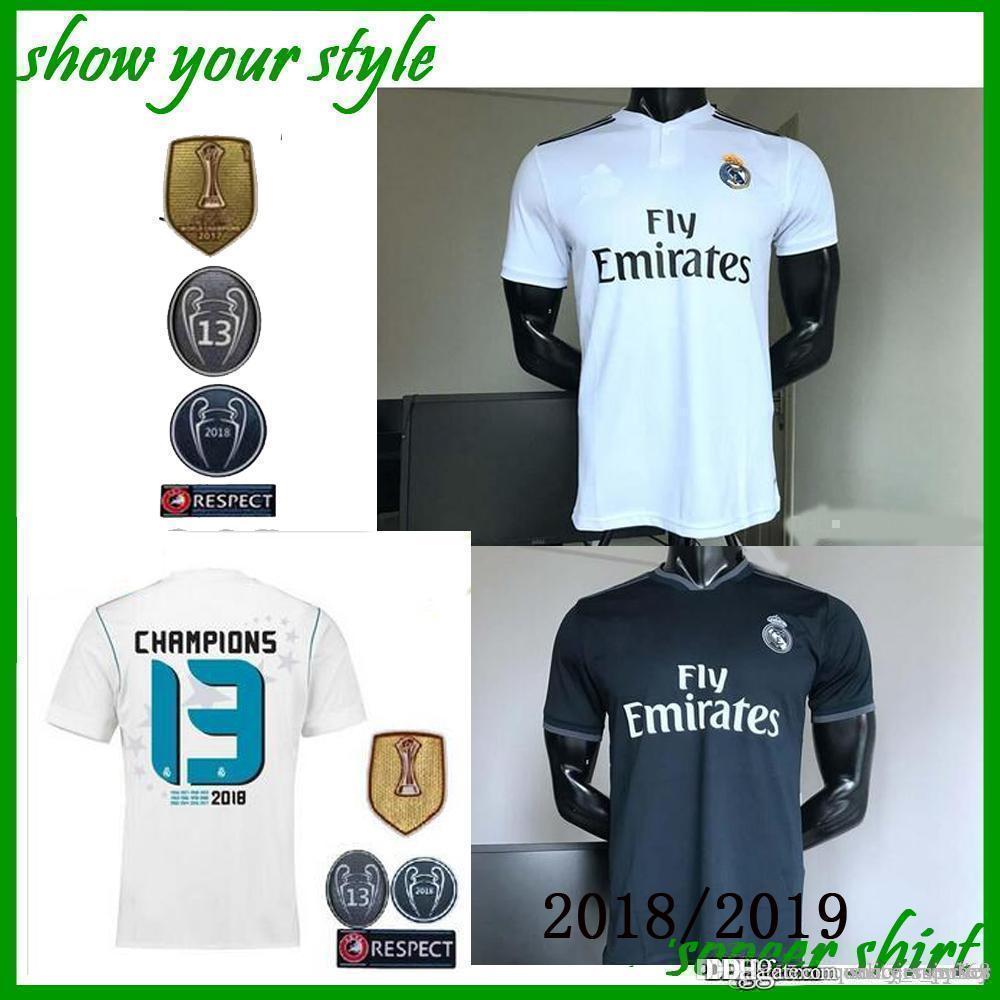 sale retailer 396b5 075a1 New Real Madrid Home white Soccer Jersey 2018/19 CR7 Away black soccer  shirt 2018 Ronaldo third Football uniforms Asensio Isco Kroos sales