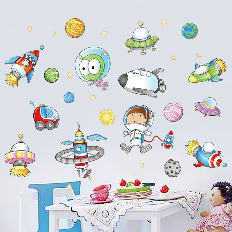 Cartoon Space Astronaut Planet Wall Decor Stickers For Boys Room Vinyl Kids  Bedroom Mural DIY Adhesive Wallpaper Removable Decal D19011702 Stickers For  Your ...