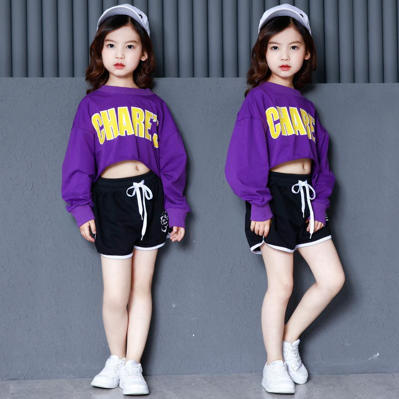 8b7a16ac0765 2019 Kids Girls Two Pieces Set For Summer Fashion Purple Crop Top Long  Sleeve And Black Shorts Teenage Clothes From Fkansis, $29.37 | DHgate.Com