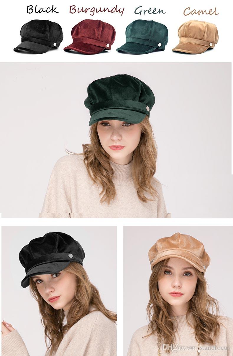 Stand Focus Women Velvet Hat Cap Cabby Baker Boy Gatsby Newsboy Elegant Ladies Fashion Fall Winter Spring Green Red Black Camel