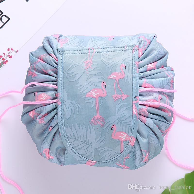 Lazy Drawstring Cosmetic Bag Large Capacity Travel Portable Lazy Cosmetic Bags Multi Colors Cartoon Make Up Pouch