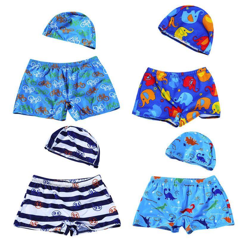 aa07965b6 Summer 2Pcs Baby Clothes Kids Baby Boys Print Shorts Stretch Beach Swimsuit  Baby Boy Swimwear Trunks Shorts+Hat Set A84L11 #FN