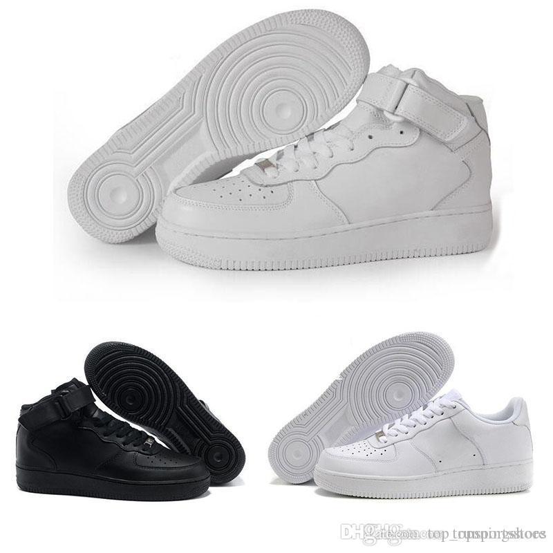 the latest 91edb d782d Acheter Force One 1 LIÈGE Pour Hommes Femmes Haute Qualité Un 1 Chaussures  De Course Coupe Basse Tout Blanc Noir Couleur Casual Baskets Taille Nous  5.5 12 ...