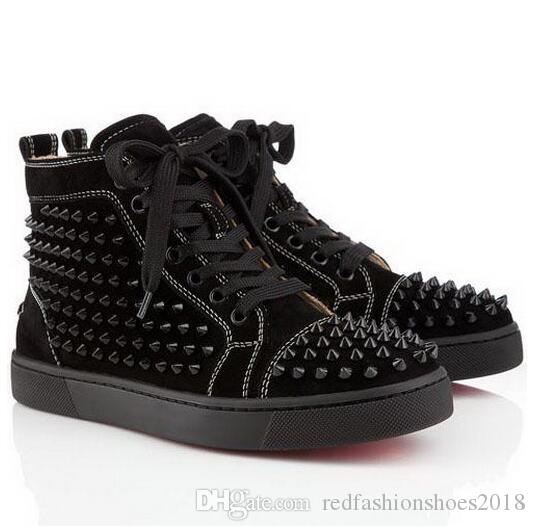 65fff2dd76c9 Special Cheap Red Bottom Sneakers For Men Luxury Black Suede With Spikes  Fashion Casual Mens Womens