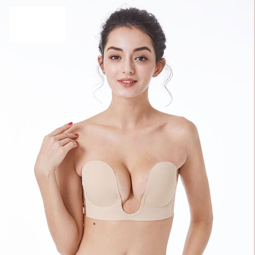99c4629a2c28b 2019 Invisible Bra Strapless Self Adhesive Silicone Push Up Bras For Women  Deep U Sexy Bra Push Up Backless Bralette Underwear From Buttonhole