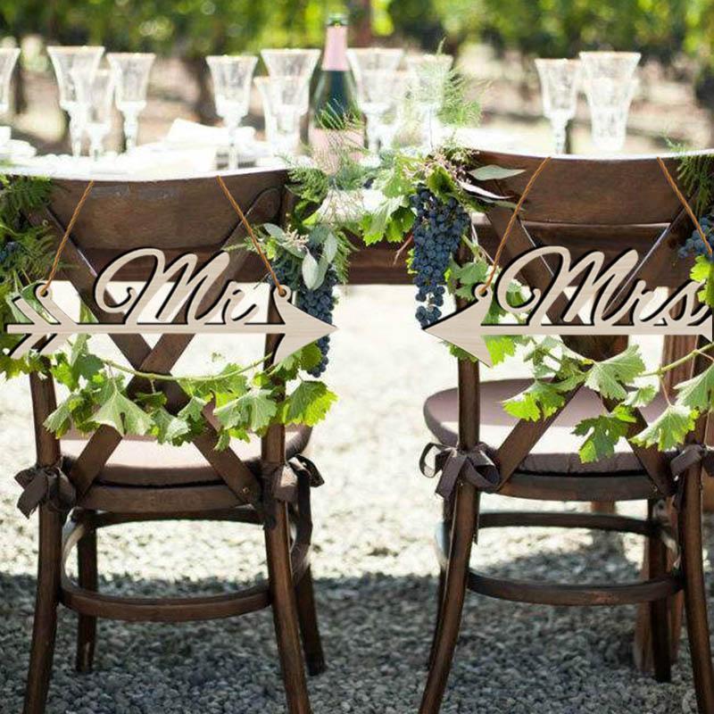 Mr ve Mrs Çuval Bezi Sandalye Afiş Seti Sandalye Işareti Ahşap Çelenk Rustik Düğün Dekorasyon Nişan Parti Malzemeleri Fotoğraf Sahne