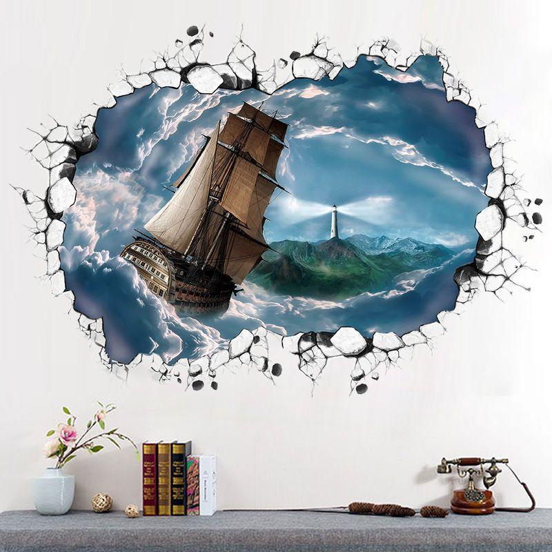 sea of clouds sailing big ship 3d wall sticker art background wall