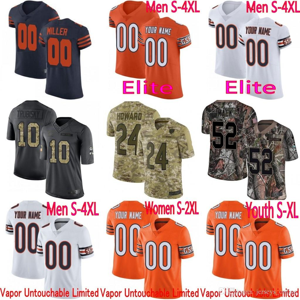 official photos 8c5fc c845c Mens Chicago Khalil Mack Mitchell Trubisky Walter Payton Roquan Smith Bears  Vapor Elite Camo Salute to Service limited jersey stitched