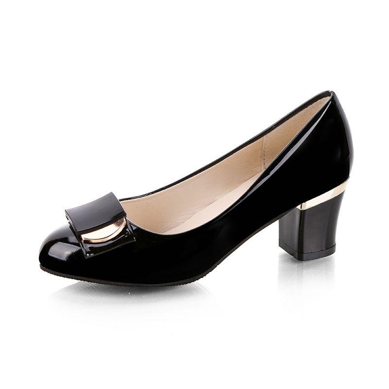 29387c357e405 Compre Tallas Grandes Zapatos De Vestir Para Mujer OL Oficina Dama Zapatos  De Charol Tacones Altos Mujeres Bombas De Tacón Cuadrado Damas 67H42   9501  A ...