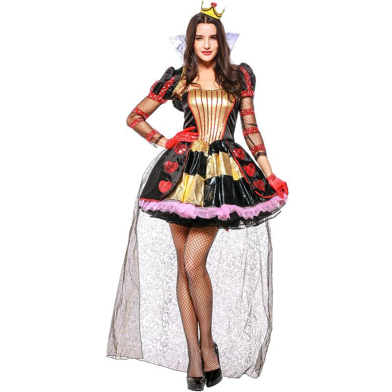 Umorden Alice In Wonderland Red Queen Of Hearts Costume For Women Halloween  Party Carnival Fantasia Costumes Dress With Cape Unique Halloween Costumes  Good ...