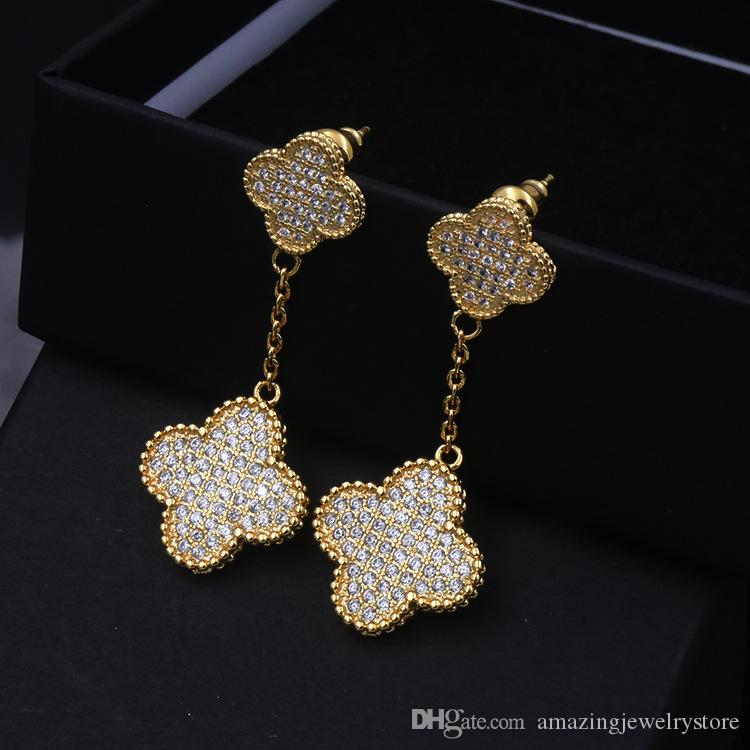 Top Brand name Drop earring double flowers with all diamond and Earring for women wedding jewelry Earring gift free shipping PS6776