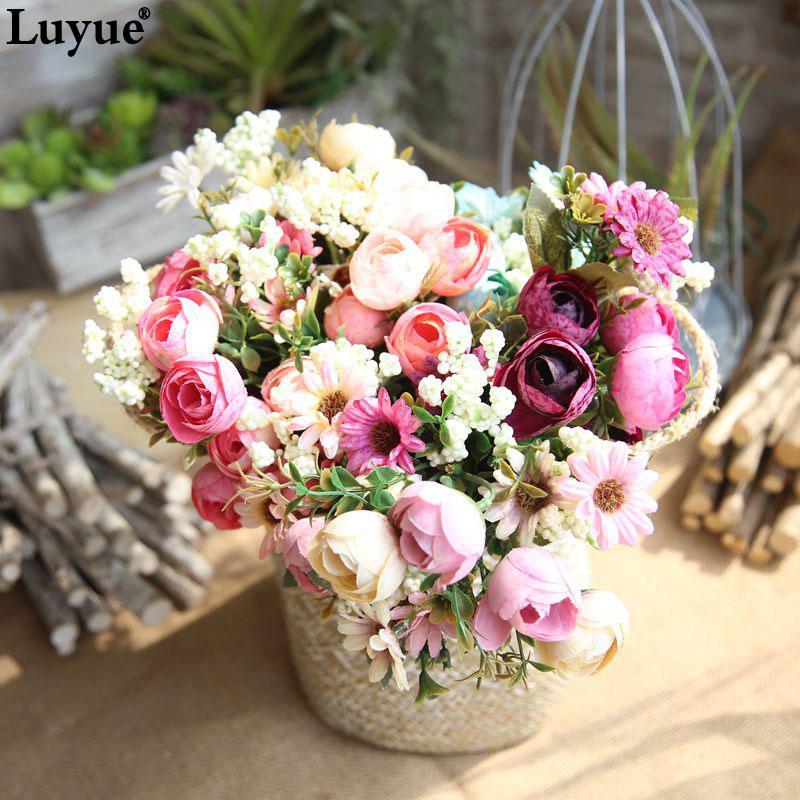 fda1cd69e0a bride bouquet Luyue 10 Heads Silk Artificial Home%Garden Decor Fake  Simulation Peony Flowers Wedding Wreath Bride Flower Bouquet