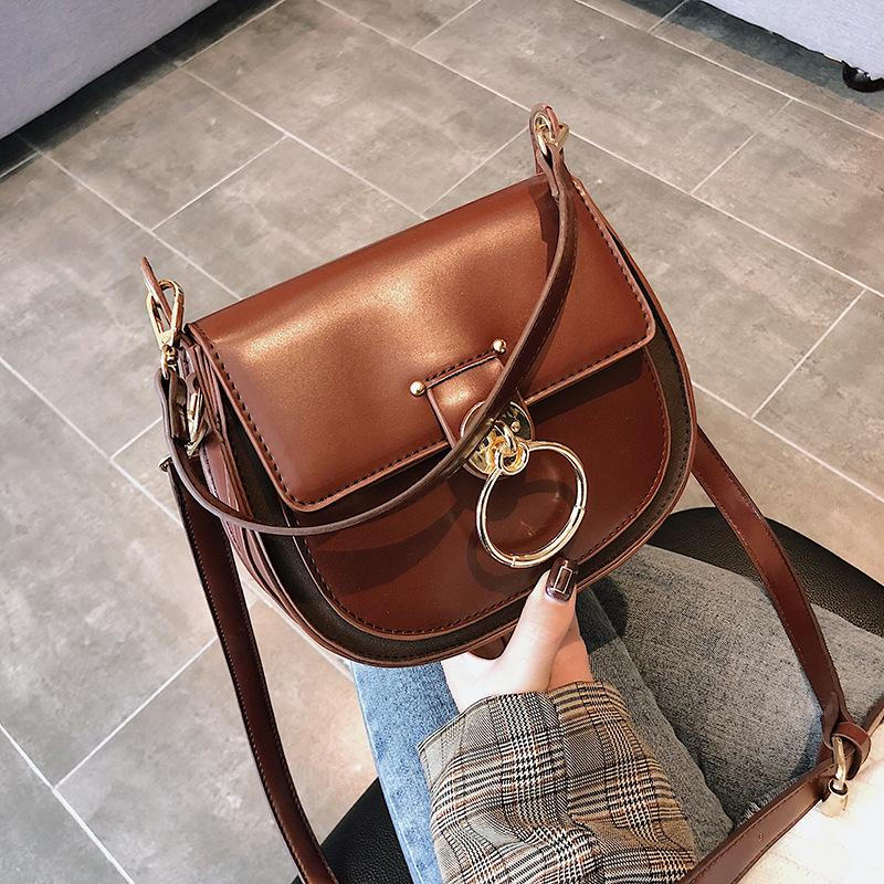Korean Shell Saddle Bag Woman Crossbody Clutch Purse Pu Leather Handbag  Chain Satchels Small Tote Vintage Gold Buckle Metal Ring Laptop Messenger  Bags ... 16e40c64da827