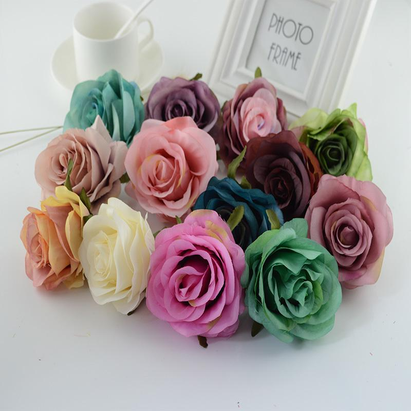 100pcs Artificial Flowers For Home Wedding Corsage Wall Car Christmas Decoration Accessories High Quality Silk Retro Roses J190707