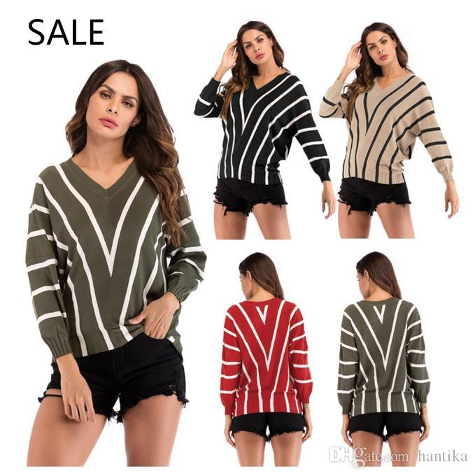 e239216d7e2 Women Knitted Sweaters Long Sleeve Casual Style Fashion Special Striped V  Neck Design Ladies Spring Daily Shirt Leisure High Quality Women Sweater  Knitted ...