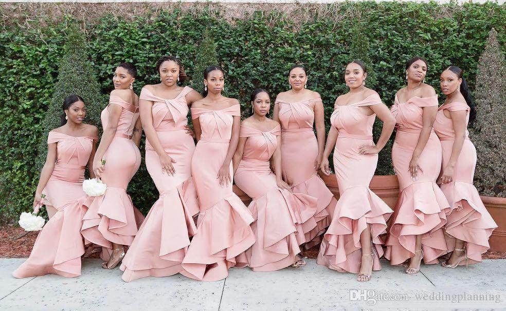 2019 Blush Pink Mermaid Bridesmaid Dresses Off Shoulder Hi-Low Ruffles Prom Formal Party Cocktail Maid Of Honor Dresses For Wedding Guest