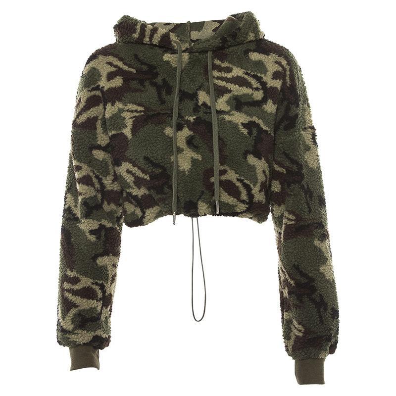 acd1d7107fd 2019 Female Winter Sweatshirt Poleron 2018 Women Camo Crop Top Fleece  Woolen Coat Drawstring Hooded Crop Hoodie Camouflage WT1732377 From  Benedica