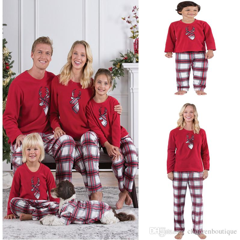 Family Christmas Pajamas New Year Family Matching Outfits Mother Father Kids  Clothes Sets Xmas Deer Head Printed Pajamas Sleepwear Nighty Mother And ... 0dec90323