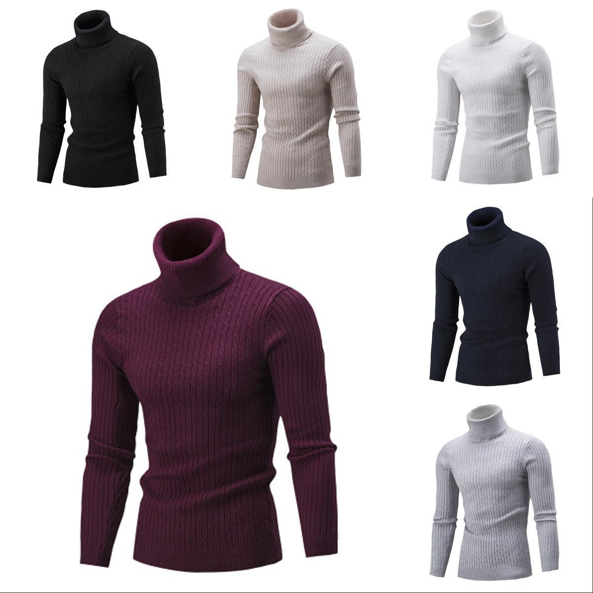 Mens Designer Sweater Boys High Collar Solid Color Bottoming Shirt Youth Casual Tops 2019 Autumn Brand Clothes 2020 For Wholesale