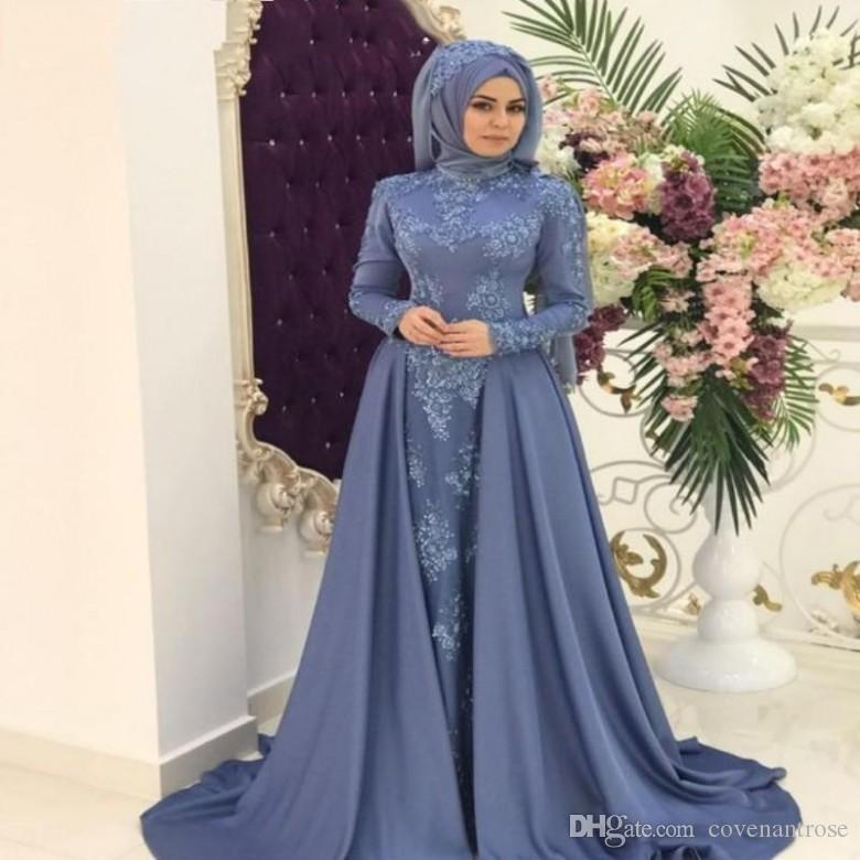 Weddings & Events Lilac Muslim Evening Dress Satin Detachable Train Lace Handmade Flowers Saudi Kaftan Dubai Evening Party Gowns Prom Dress Custom Special Summer Sale