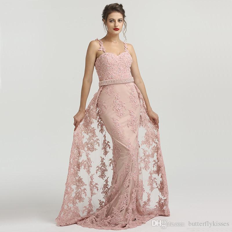 f5ae66264 Compre 2018 A La Venta De Encaje De Color Rosa Vestidos Largos De Baile  Desmontables Tren Cristales Sirena Vestidos De Noche Sexy Cuentas De  Espagueti ...