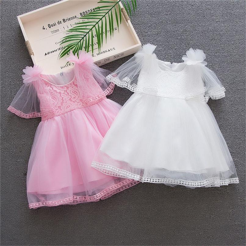 Compre Ropa Para Bebés Niña Vestido Para Niñas Pequeñas Bebé Sin Mangas  Sólido Vestido De Tul De Encaje Fiesta Princesa De Boda Vestido De Bata  Fille D26 A ... b146a1d0a36