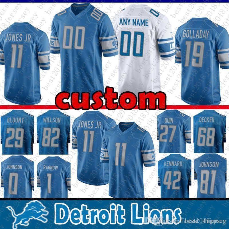 reputable site ec34f 9064f Detroit Lions 19 Kenny Golladay jersey 29 LeGarrette Blount 94 Ziggy Ansah  40 Jarrad Davis 11 Jones Jr 27 Quin 82 Luke Willson 1 Frank Ragno