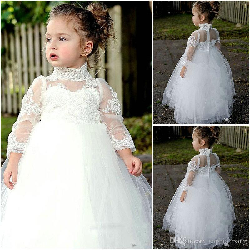 72ea3f16a5 2019 Custom Made Little Girls White Holy Communion Gowns Long Sleeves High  Neck Zipper Back Ball Gown Kids Wedding Dresses First Communion Dress  Flower Girl ...